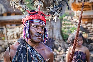 Village chief and community of the Abui Tribe dressed in traditional clothing, Alor Island, Indonesia, Southeast Asia, Asia