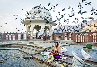 Woman feeding pigeons with corn at Amber Fort in Rajasthan, India, Asia