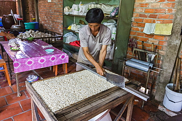 Making rice candy at Phu An Hamlet near Cai Be, Mekong River Delta, Vietnam, Indochina, Southeast Asia, Asia