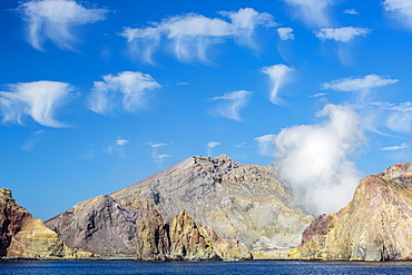 Interesting cloud formations over White Island, North Island, New Zealand, Pacific