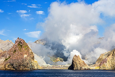 An active andesite stratovolcano on White Island, off the east side of North Island, New Zealand, Pacific