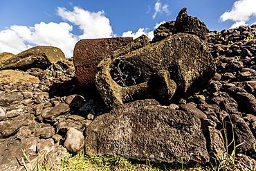 Fallen moai head and red scoria topknot at Ahu Akahanga on Easter Island (Isla de Pascua) (Rapa Nui), UNESCO World Heritage Site, Chile, South America