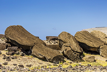 Fallen moai at Ura Uranga Te Mahina ceremonial site on Easter Island (Isla de Pascua) (Rapa Nui), UNESCO World Heritage Site, Chile, South America