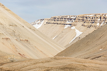 View of sedimentary layers from Cape Hay, Bylot Island, Nunavut, Canada, North America