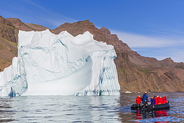 Zodiac cruises around icebergs on the southern coast of Disko Island, Kuannersuit, Greenland, Polar Regions