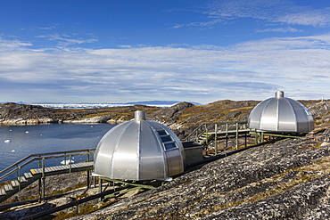 Modern igloo cabins for rent from the Hotel Arctic in the town of Ilulissat, Greenland, Polar Regions