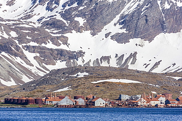 Remains of the abandoned Christian Salvesen and Co. Ltd. whaling station at Leith Harbour, South Georgia, UK Overseas Protectorate, Polar Regions