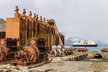 The Lindblad Expeditions ship National Geographic Explorer at anchor at the abandoned whaling station in Grytviken, South Georgia, UK Overseas Protectorate, Polar Regions