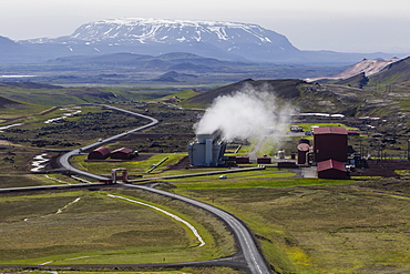 The geothermal Krafla Power Station, largest geothermal power station in Iceland, located near the Krafla Volcano, Iceland, Polar Regions