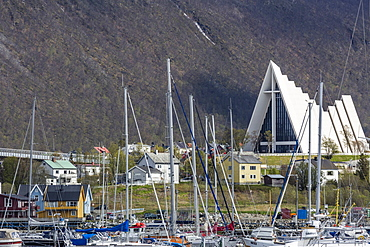 Exterior view of The Arctic Cathedral in Tromso, known as the Gateway to the Arctic, Norway, Scandinavia, Europe