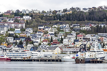 View of the harbor in Tromso, known as the Gateway to the Arctic, Norway, Scandinavia, Europe