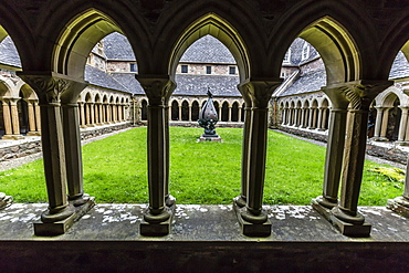 View of the inner courtyard at the Iona Abbey on Iona Island, western Outer Hebrides, Scotland, United Kingdom, Europe
