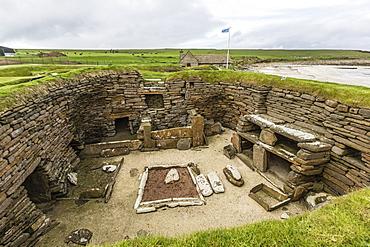 Excavated 5000 year old village site of Skara Brae, UNESCO World Heritage Site, on Mainland Island, Orkney Archipelago, Scotland, United Kingdom, Europe