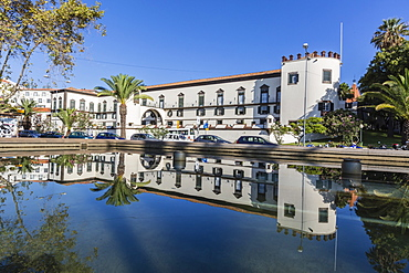Reflected view of the Palacio de Sao Lourenco in the heart of the city of Funchal, Madeira, Portugal, Europe