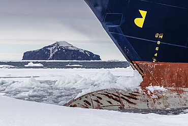 The Lindblad Expeditions ship National Geographic Explorer in Shorefast Ice, Antarctic Sound, Antarctica, Polar Regions