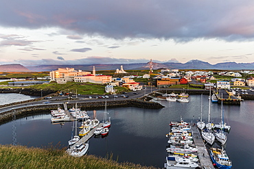 The harbor town of Stykkisholmur as seen from the small island of Stykkia on the Snaefellsnes Peninsula, Iceland, Polar Regions