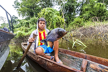 Young boy in dugout canoe with speared piranha on the San Miguel Caño, Loreto, Peru, South America