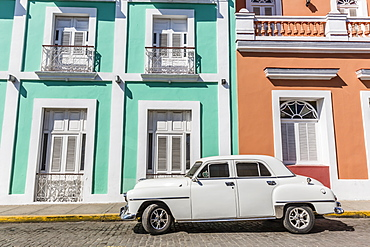 Classic 1950s Plymouth taxi, locally known as almendrones in the town of Cienfuegos, Cuba, West Indies, Caribbean, Central America