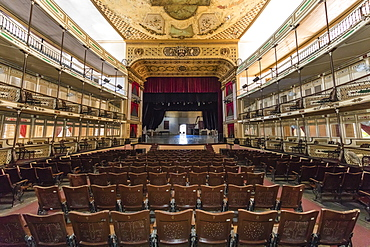 Interior view of the Teatro Tomas Terry (Tomas Terry Theatre), opened in 1890 in the city of Cienfuegos, UNESCO World Heritage Site, Cuba, West Indies, Caribbean, Central America