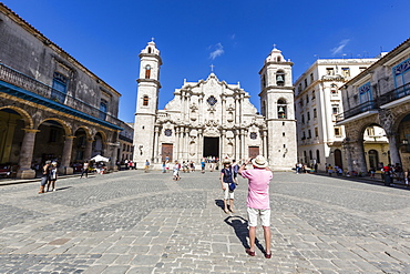 Exterior view of the Cathedral of Immaculate Conception Virgin Mary in the Plaza de la Catedral, Havana, Cuba, West Indies, Central America