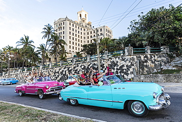Classic American cars being used as taxis, locally known as almendrones, in Havana, Cuba, West Indies, Central America