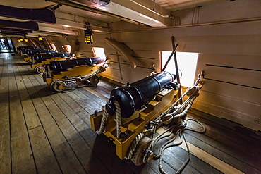 The HMS Victory, Lord Nelson's flagship at the Battle of Trafalgar, now a museum ship in Portsmouth, Hampshire, England, United Kingdom, Europe