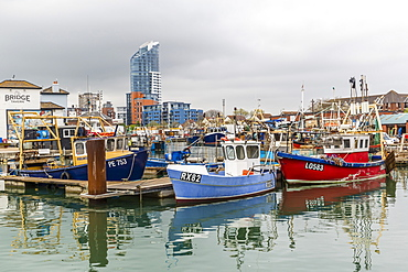 A view of the harbour in the port city of Portsmouth, built on Portsea Island, Hampshire, England, United Kingdom, Europe