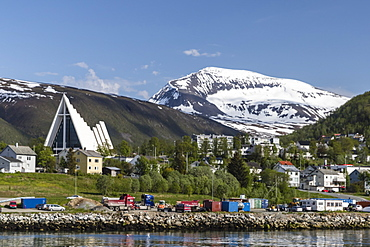 The Ice Cathedral as viewed from the harbor in Tromso, Norway, Scandinavia, Europe
