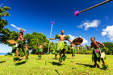 Children from the township of Waitabu perform traditional dance on Taveuni Island, Republic of Fiji.