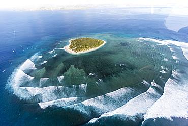 Aerial view of the Cloud surfing break at Tavarua, near Viti Levu, Republic of Fiji, South Pacific Islands, Pacific