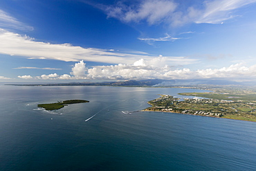Aerial view of South Seas Island, just offshore from Viti Levu, Republic of Fiji, South Pacific Islands, Pacific