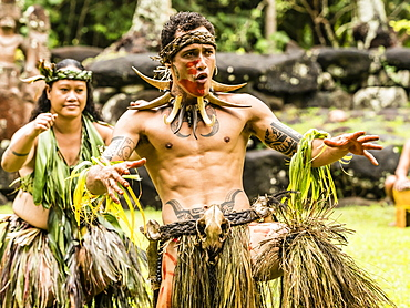 Traditional dance performed in ceremonial costume in Hatiheu, Nuku Hiva Island, Marquesas, French Polynesia, South Pacific, Pacific
