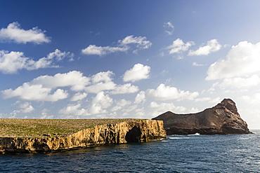 Teuaua Island, left and Hemeni Island, right, off Ua Huka, Marquesas, French Polynesia, South Pacific, Pacific