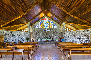 Interior view of the Catholic Church in the town of Vaitahu on the island of Tahuata, Marquesas, French Polynesia, South Pacific, Pacific