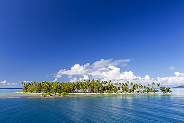 On approach to Raiatea through a break in the atoll reef, Society Islands, French Polynesia, South Pacific, Pacific