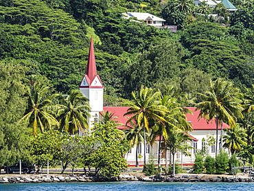 The Protestant church near the marae of Taputapuatea, Raiatea, Society Islands, French Polynesia, South Pacific, Pacific
