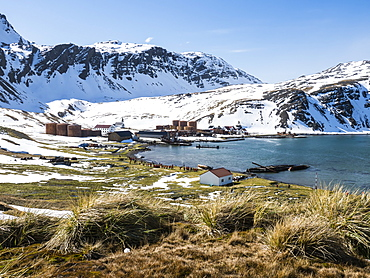 The abandoned whaling station at Grytviken, now cleaned and refurbished for tourism on South Georgia Island, Atlantic Ocean