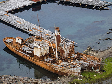 Old whaling catcher ships at Grytviken, now cleaned and refurbished for tourism on South Georgia Island, Atlantic Ocean