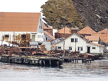 The abandoned and dilapidated whaling station at Leith Harbour, Stromness Bay, South Georgia Island, Atlantic Ocean