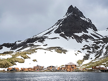 The abandoned remains of the Norwegian Whaling Station in Prince Olav Harbour, Cook Bay, South Georgia Island, Atlantic Ocean