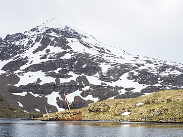 The abandoned remains of the whaling ship Brutus in Prince Olav Harbour, Cook Bay, South Georgia Island, Atlantic Ocean