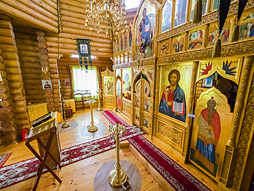 Interior view of the Russian Orthodox Church in Nikolskoye Village, Commander Islands, Kamchatka, Russia, Eurasia