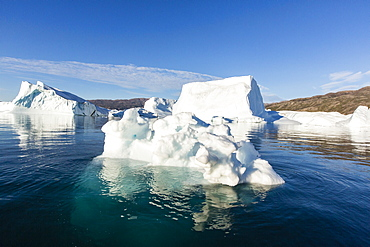 Grounded icebergs, Rode O (Red Island), Scoresbysund, Northeast Greenland, Polar Regions