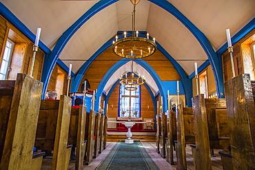 Inuit village church, Ittoqqortoormiit, Scoresbysund, Northeast Greenland, Polar Regions