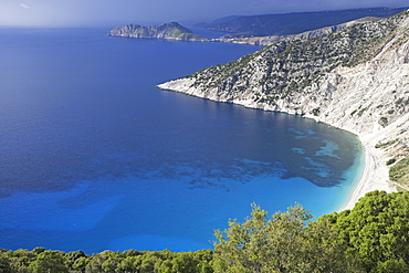 Cephalonia, view at Myrtos Bay in the sunlight, Ionian Islands, Greece