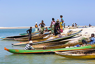 Fishing boats on the beach near Morondava, Madagascar, Africa