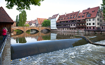 Max bridge over the river Pegnitz, Nuremberg, Middle Franconia, Bavaria, Germany