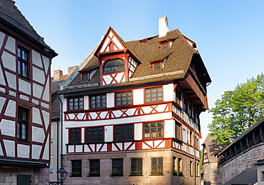 Albrecht Duerer House, Place of work and life of the artist Albrecht Duerer 1471-1528, Tiergaertnertorplatz Square, Nuremberg, Middle Franconia, Bavaria, Germany