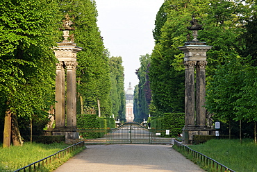 Main Avenue in Sanssouci park with view to the New Palais, Potsdam, Brandenburg, Germany