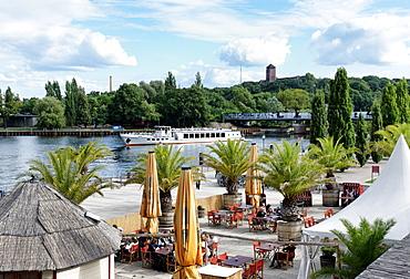 Pier of the Weisse Flotte ship company, Havel, Potsdam, Brandenburg, Germany